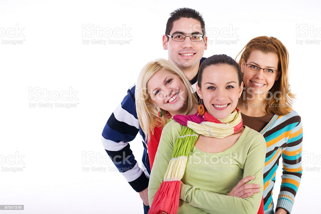 Young men and women smiling isolated on white background royalty-free stock photo