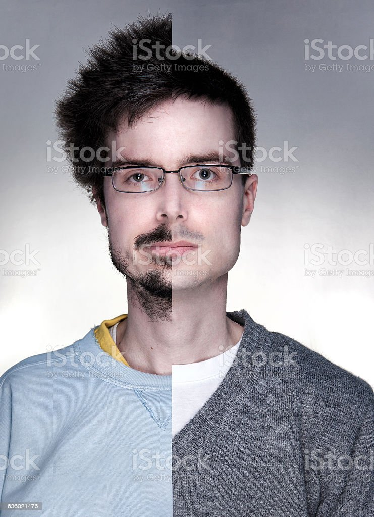 Young men before and after changing his look stock photo