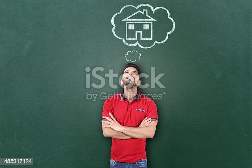 istock Young men dreaming a house 485317124
