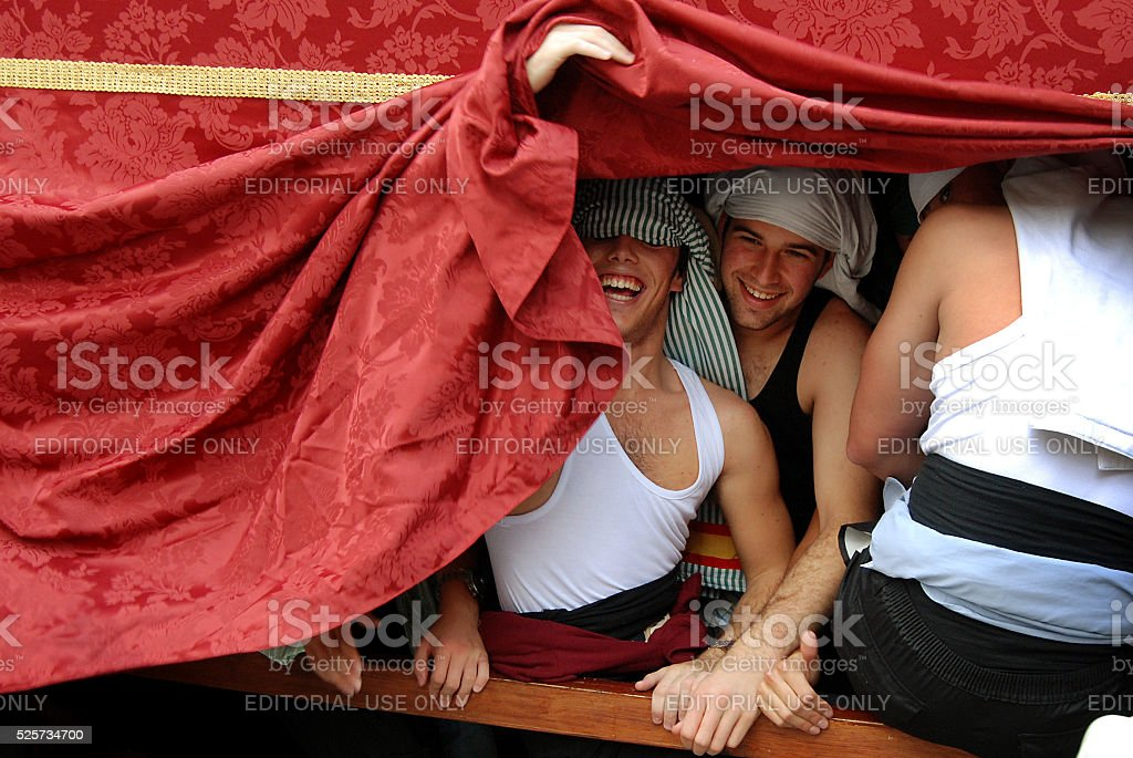 Young men during a procession in Spain stock photo