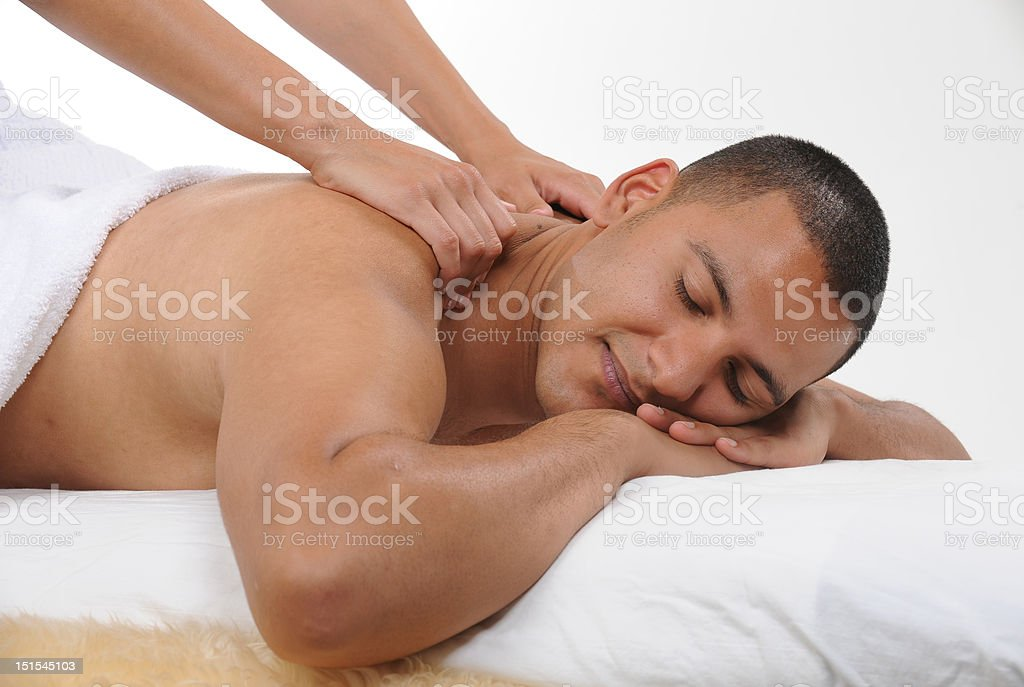 young men getting massage royalty-free stock photo