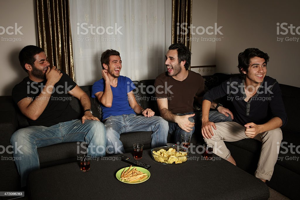 young men having a nice evening stock photo