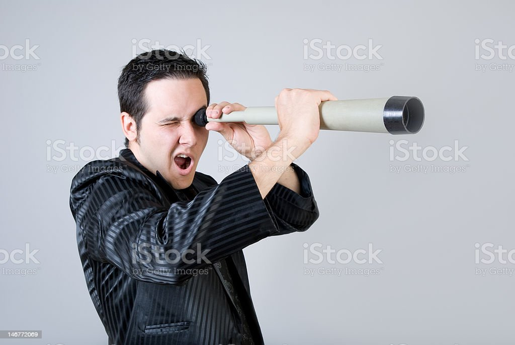 Young men is looking through telescope and Screaming royalty-free stock photo