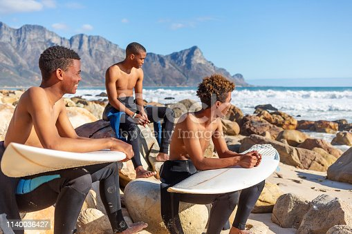 Teenage Surfers Looking at the Waves Before a Surf