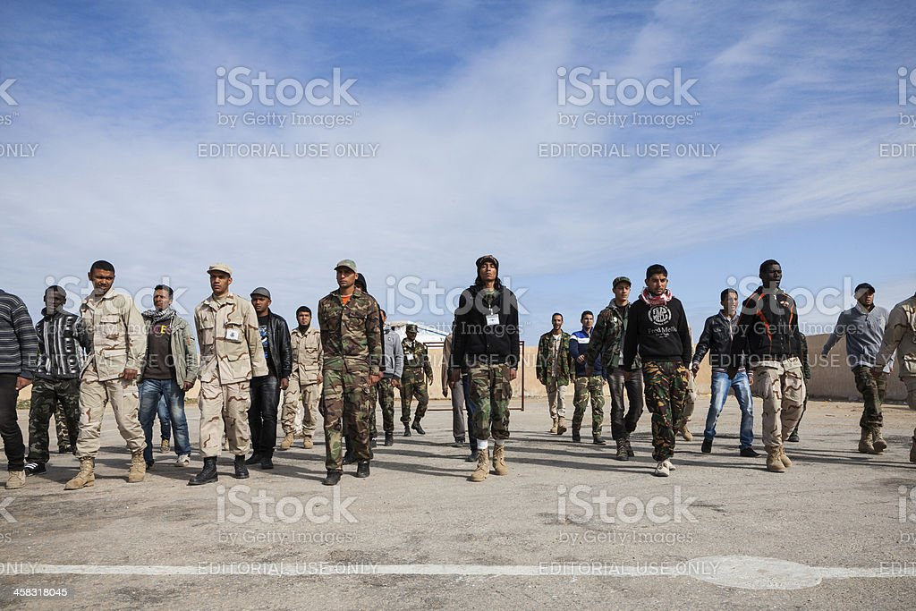Young men training in Libya stock photo