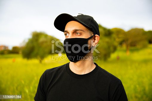 Young Men With Black Mask Outdoors Customizable Mask and T-shirt
