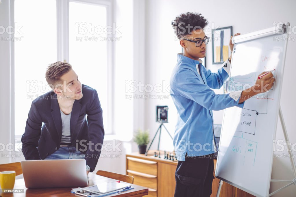 Young men working at home office stock photo