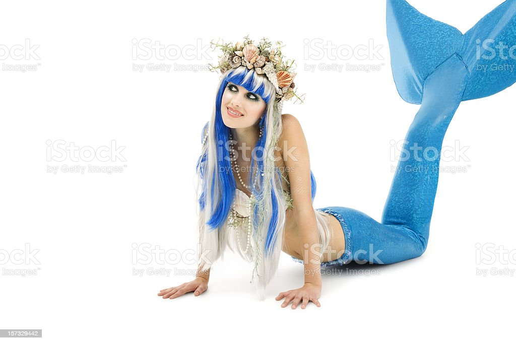 Young Mermaid on White royalty-free stock photo