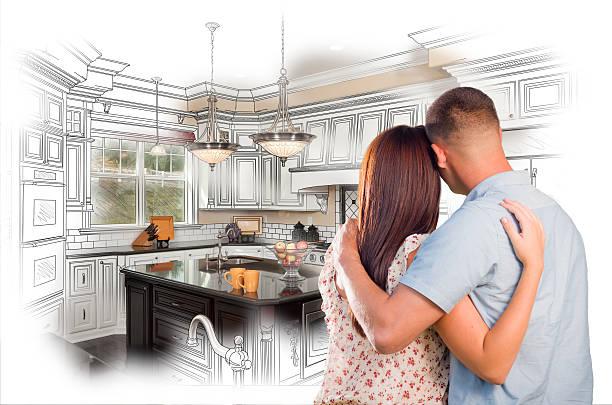 junge militärische pärchen auf individuelle küche und design-salon c - küche neu gestalten ideen stock-fotos und bilder