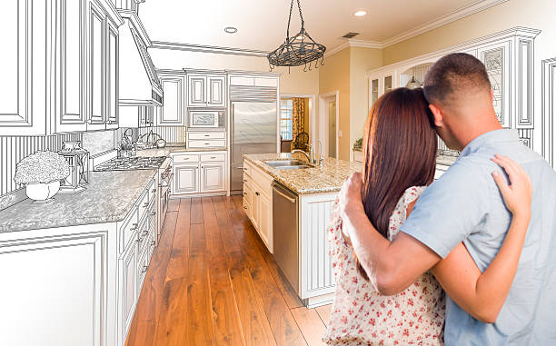 Young Military Couple Inside Custom Kitchen and Design Drawing Young Military Couple Looking Inside Custom Kitchen and Design Drawing and Photo Combination. fine art portrait stock pictures, royalty-free photos & images