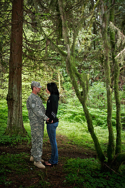 young military couple - wife stock photos and pictures