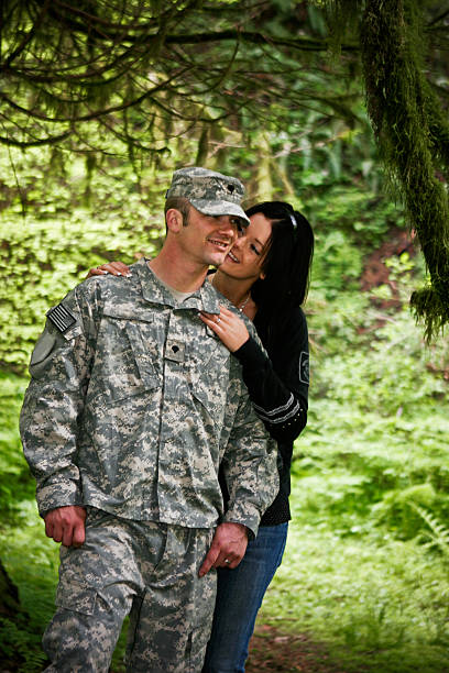 Young Military Couple stock photo