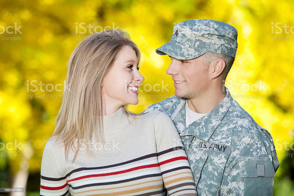 Young Military Couple Series: Real US Soldier & Wife Portrait royalty-free stock photo