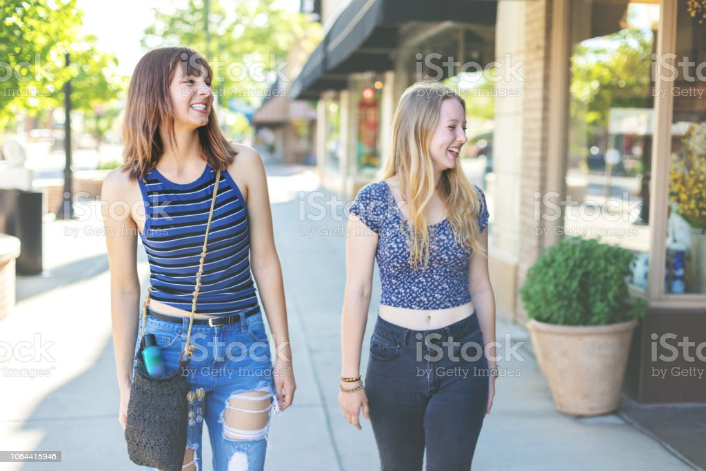 Young Millennial Age Female On Urban City Street stock photo