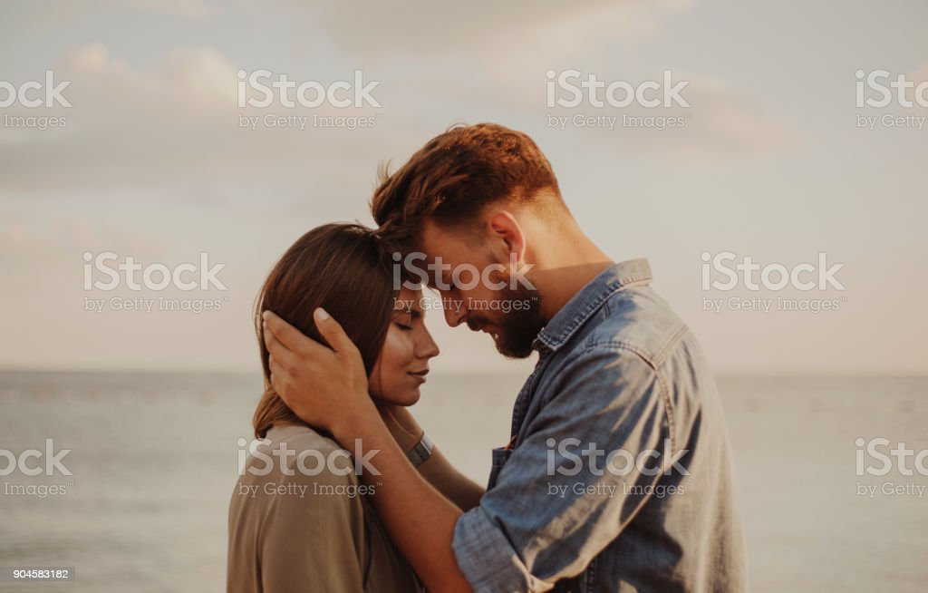 Young millennial couple celebrating Valentine's day stock photo