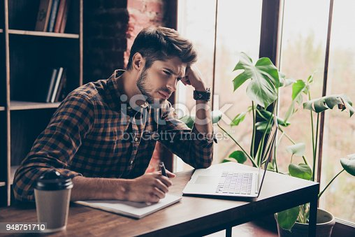 istock Young minded worker thinking of what he shoud do 948751710