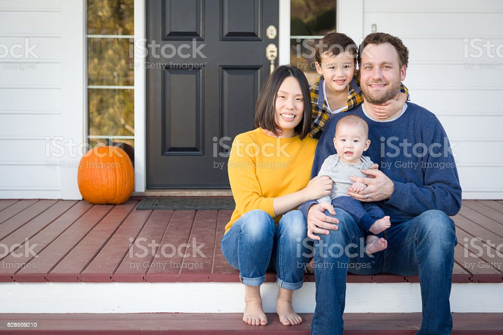 Young Mixed Race Chinese and Caucasian Family Portrait stock photo