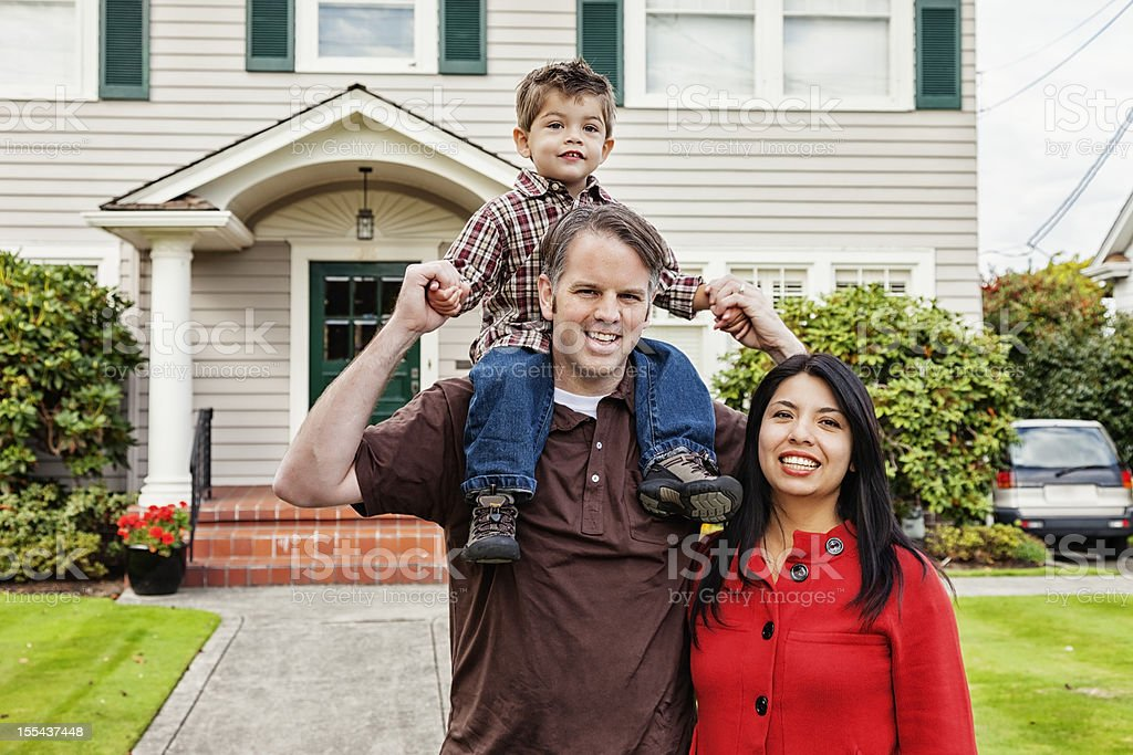 Young Mixed Race Family of Three at Home royalty-free stock photo