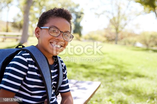 Young mixed race schoolboy in glasses smiling to camera