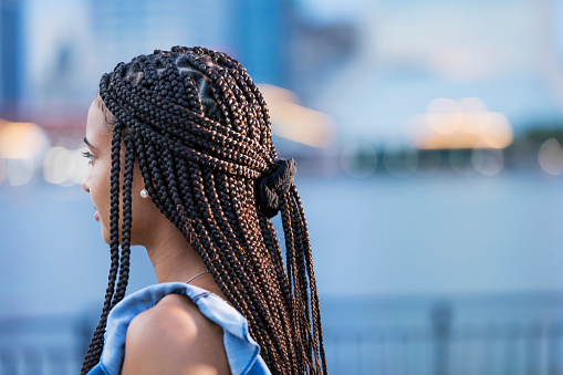 Young Mixed Race Woman With Cornrow Braids Stock Photo - Download Image Now