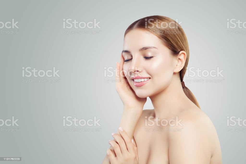 Young Model Face Healthy Woman Smiling On White Background Skincare Concept Stock Photo Download Image Now Istock
