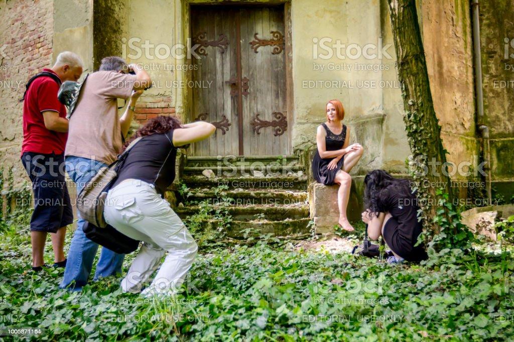 Jasa Tomic, Vojvodina, Serbia - June 3, 2017: Photographers are...