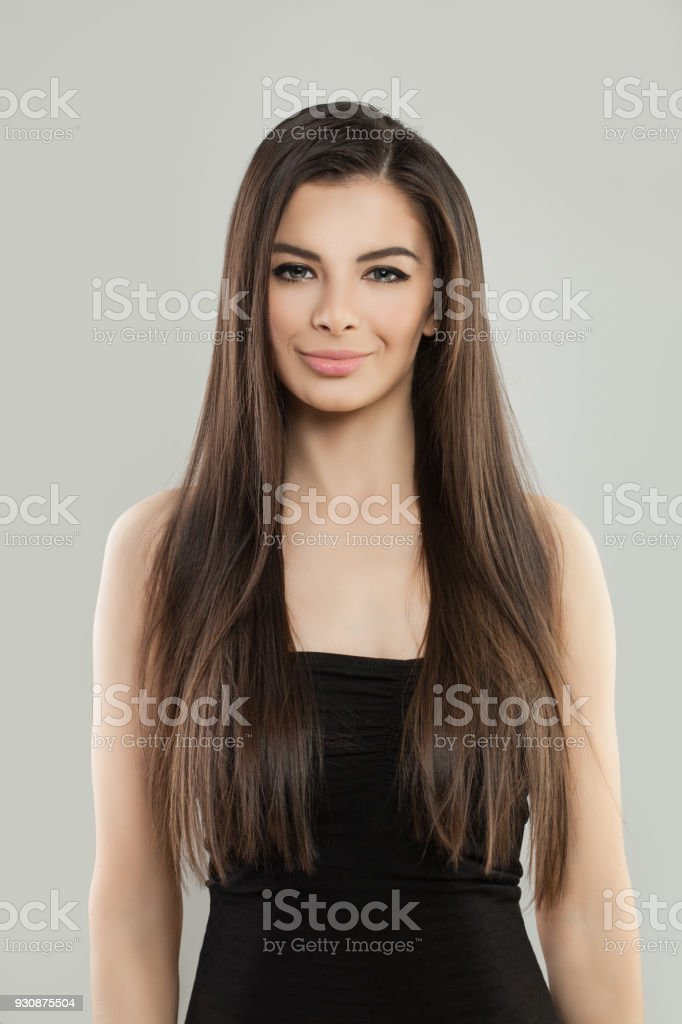 Young Model Woman Brunette in Black Dress stock photo