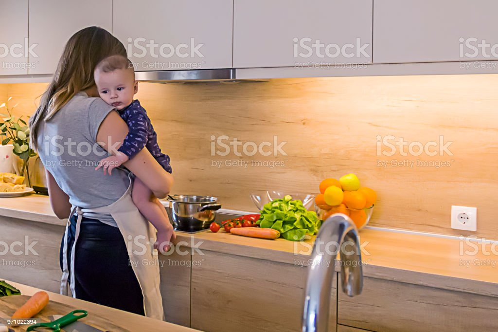 mom cooking in kitchen