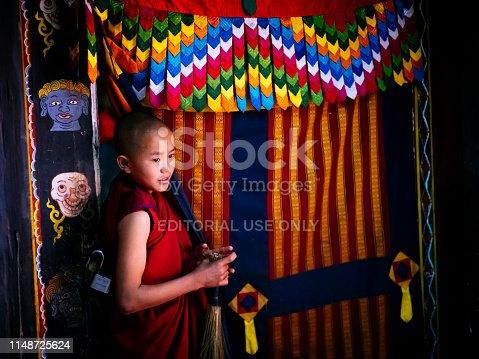 A boy in monks clothing at the Nirzaegang (Neyzergang) Goempa Festival