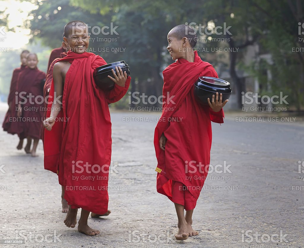 Young Monks in Myanmar stock photo