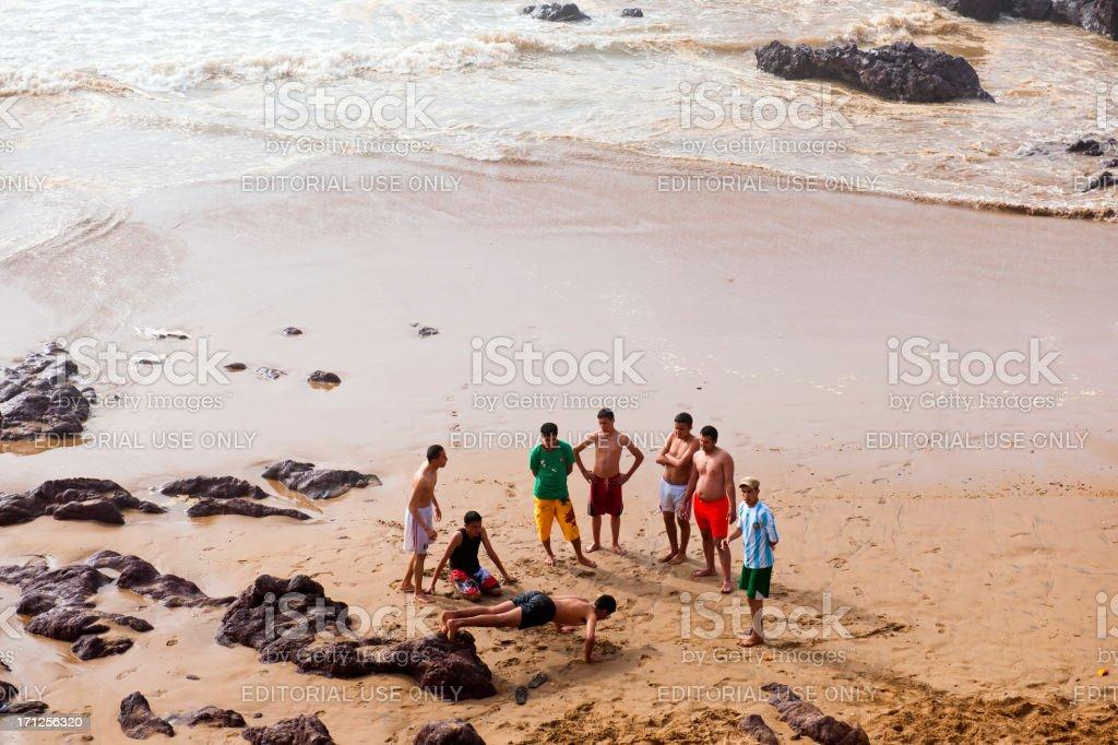 Young Moroccan Doing Push-ups on Atlantic Coast royalty-free stock photo