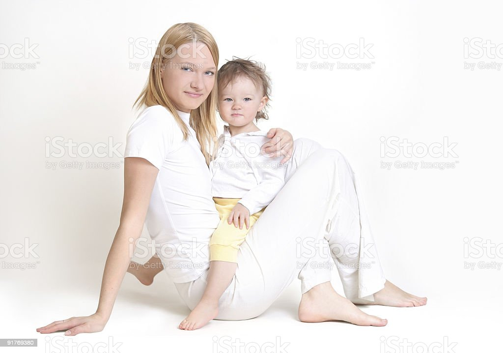 young mother and her baby stock photo