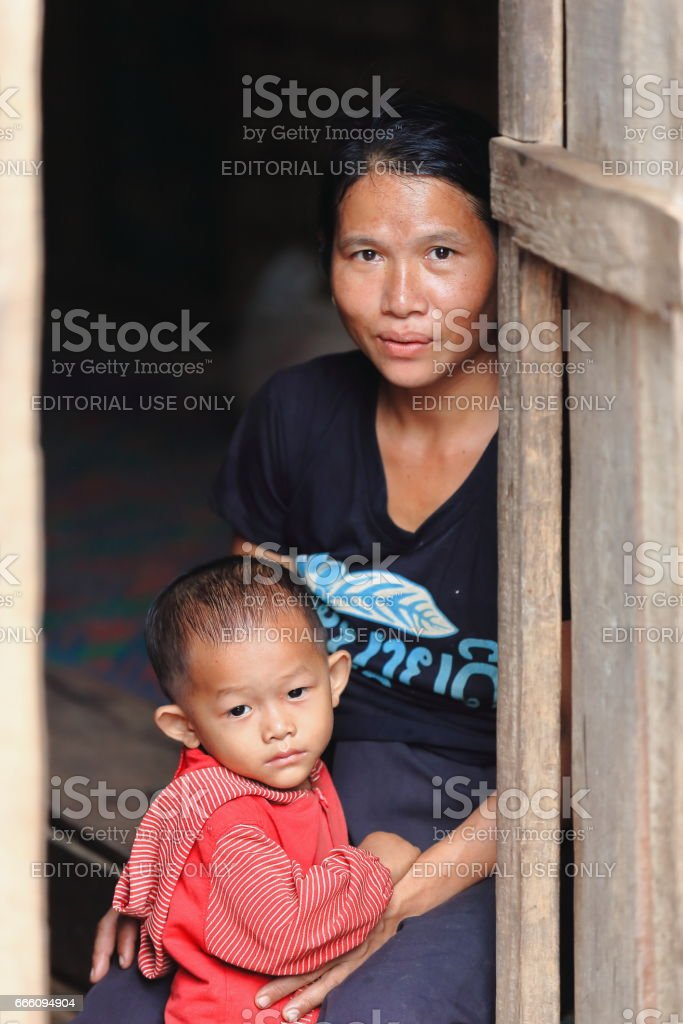 Young mother and son-Khmu tribe-MuangKhua area downstream NamOu river-Phongsali province-Laos.3837 stock photo