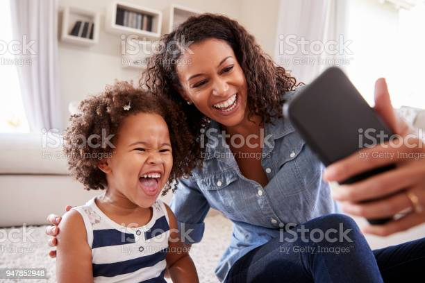 Young mother and toddler daughter taking selfie at home picture id947852948?b=1&k=6&m=947852948&s=612x612&h=w qp it0kuih ashcw8epzegvmwwwzoow6havp a  g=