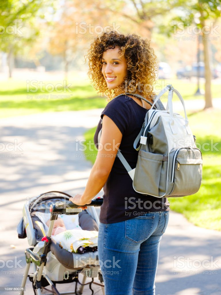 Young Mother in the Park stock photo