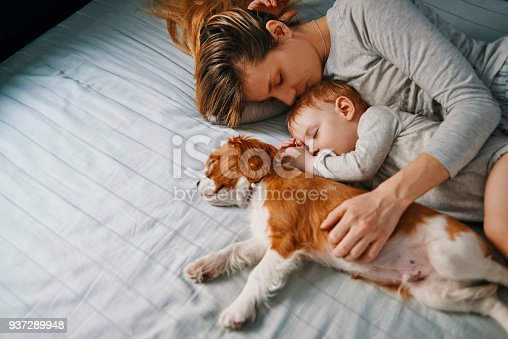young mother enjoying napping with her baby and puppy