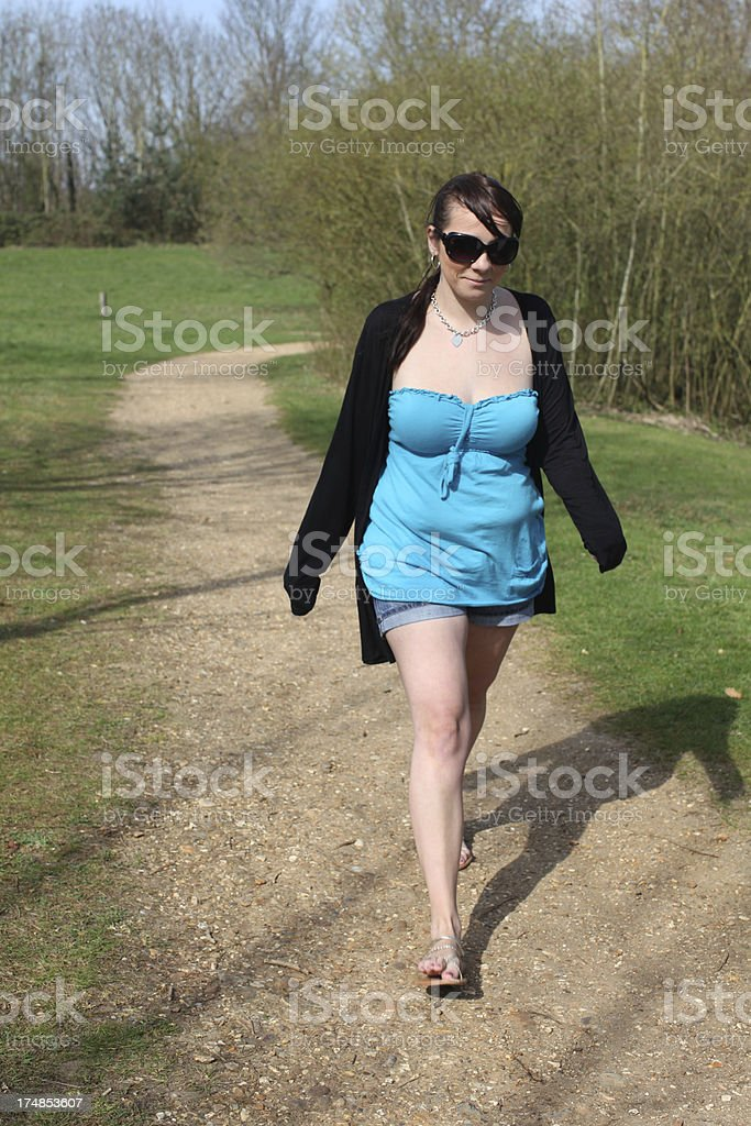 Young Mother Walking for Exercise royalty-free stock photo