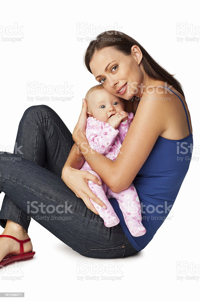 Young Mother With Her Adorable Baby - Isolated royalty-free stock photo