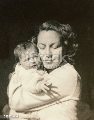 Young mother with her baby  in 1948