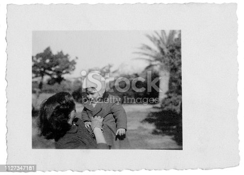 Young mother with her baby in 1949