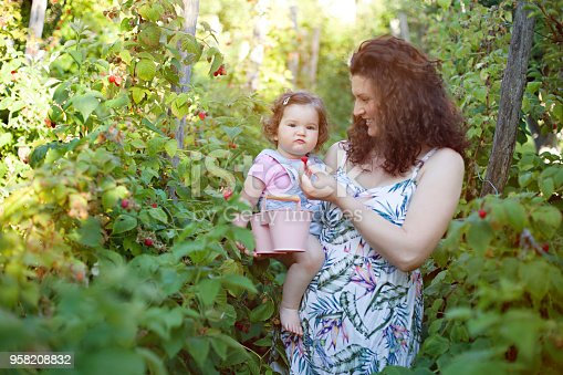 People, Fruit, Garden, Front or Back Yard, Domestic Life, Berries, Child, Mother