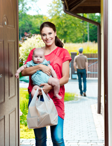 Young Mother With Take Away Food Stock Photo - Download Image Now