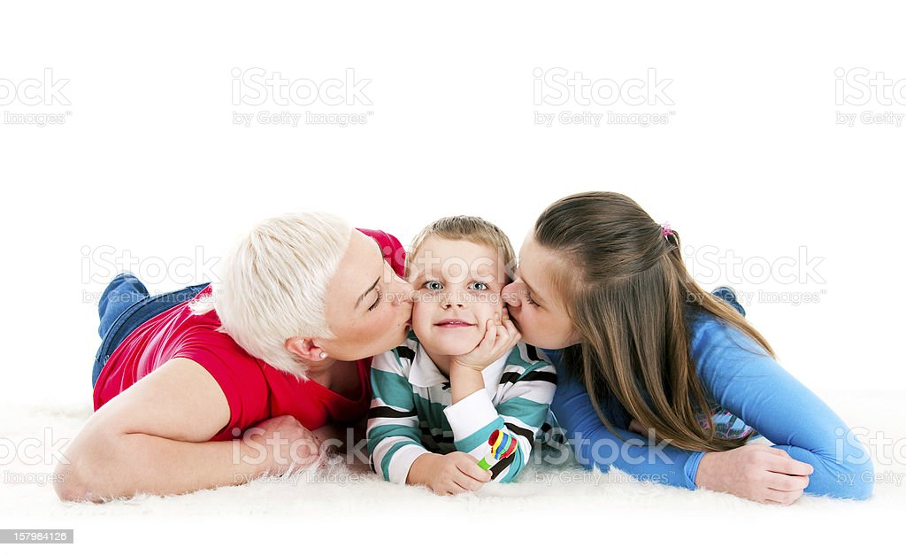 Young mother with two children stock photo