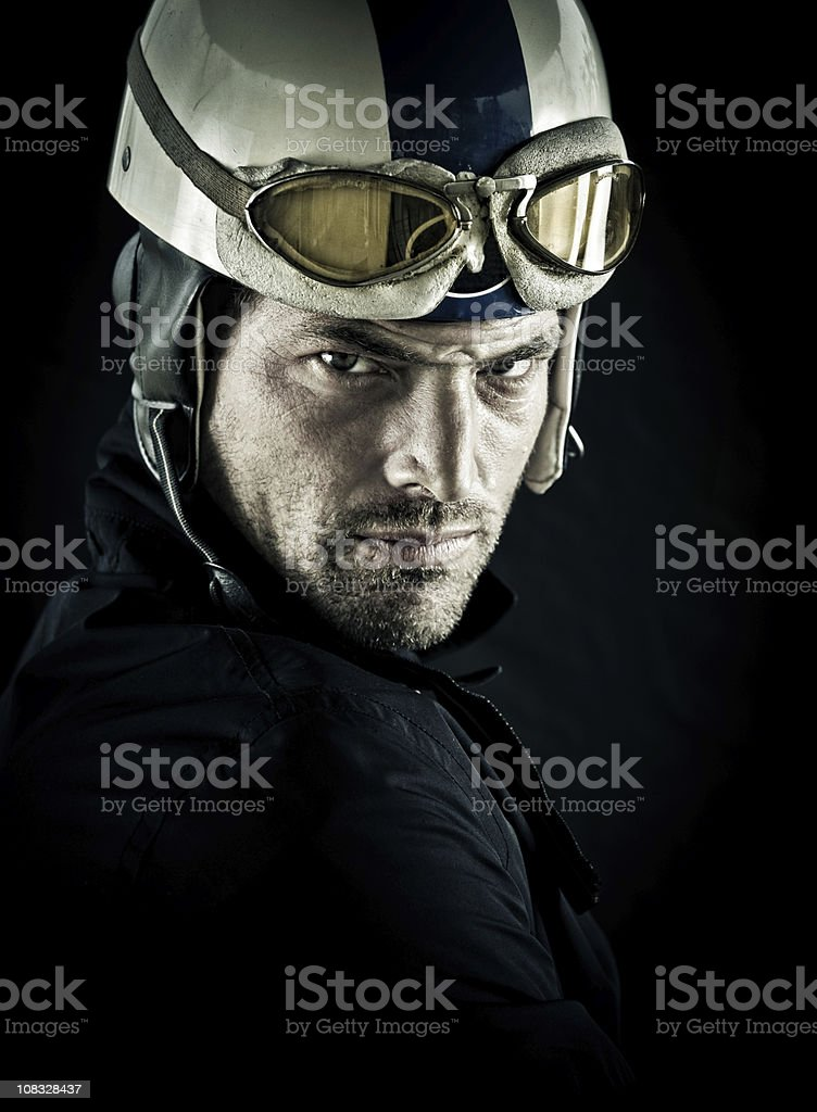 young motorcyclist with vintage helmet royalty-free stock photo