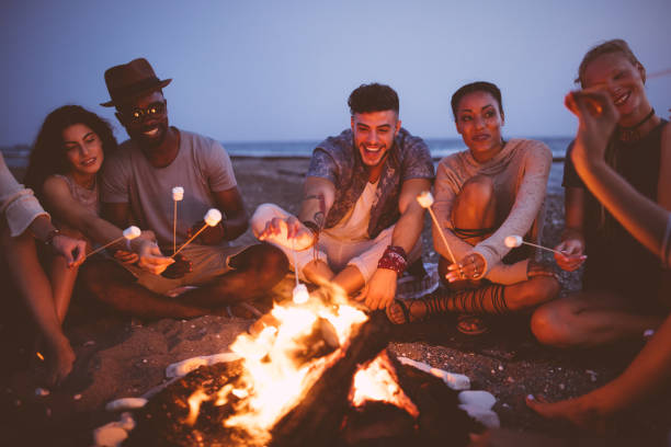 young multi-ethnic friends roasting marshmallows on sticks at the beach - camping stock photos and pictures
