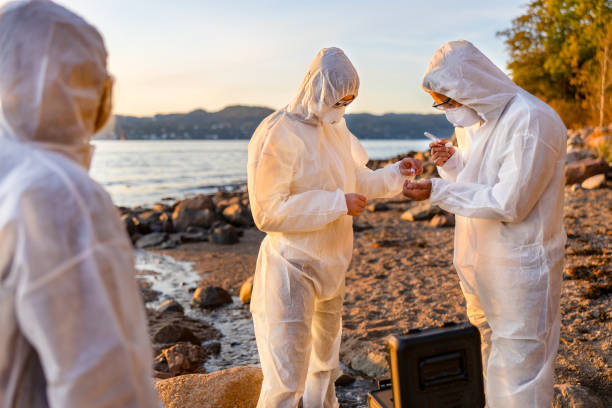 Young multi-ethnic scientists discussing water samples at beach stock photo