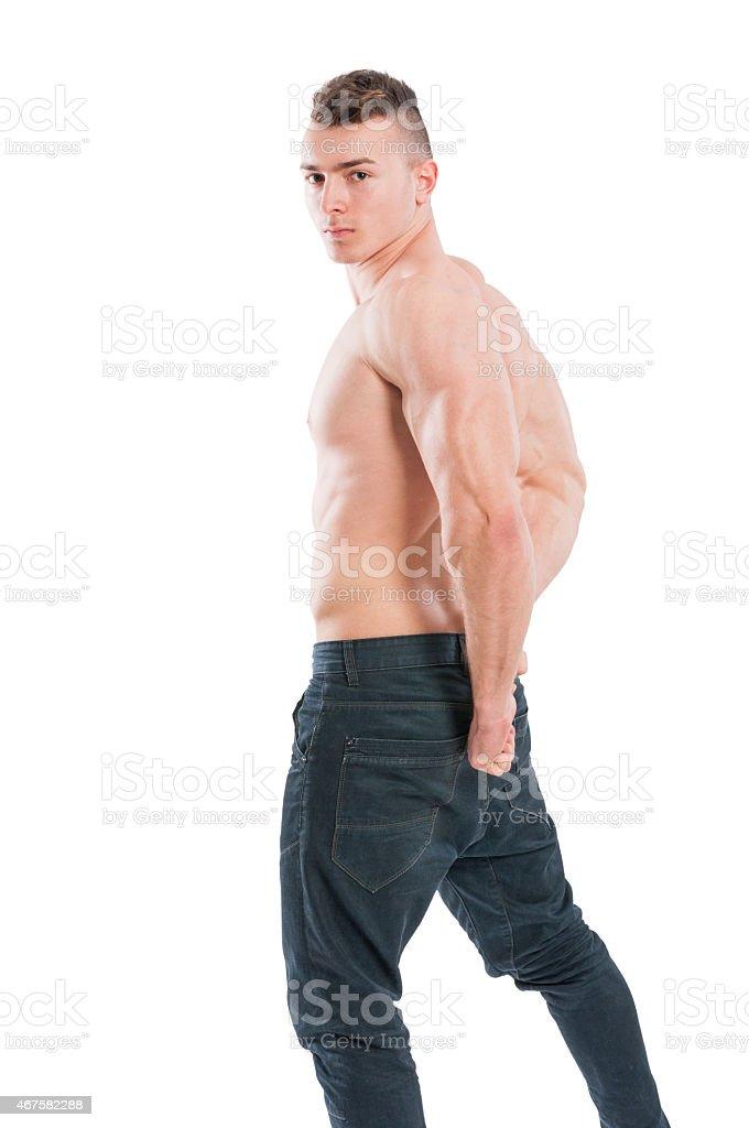 Junge Muskel Und Männliche Model Nackter Oberkörper Stock-Fotografie ...