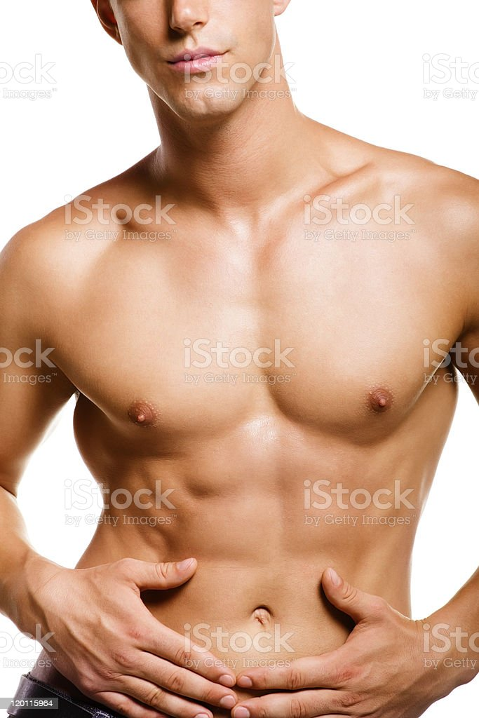 A young muscular man with nice chest and flat abs royalty-free stock photo
