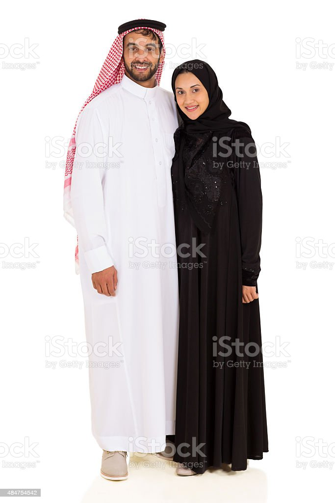 young muslim couple on white background stock photo