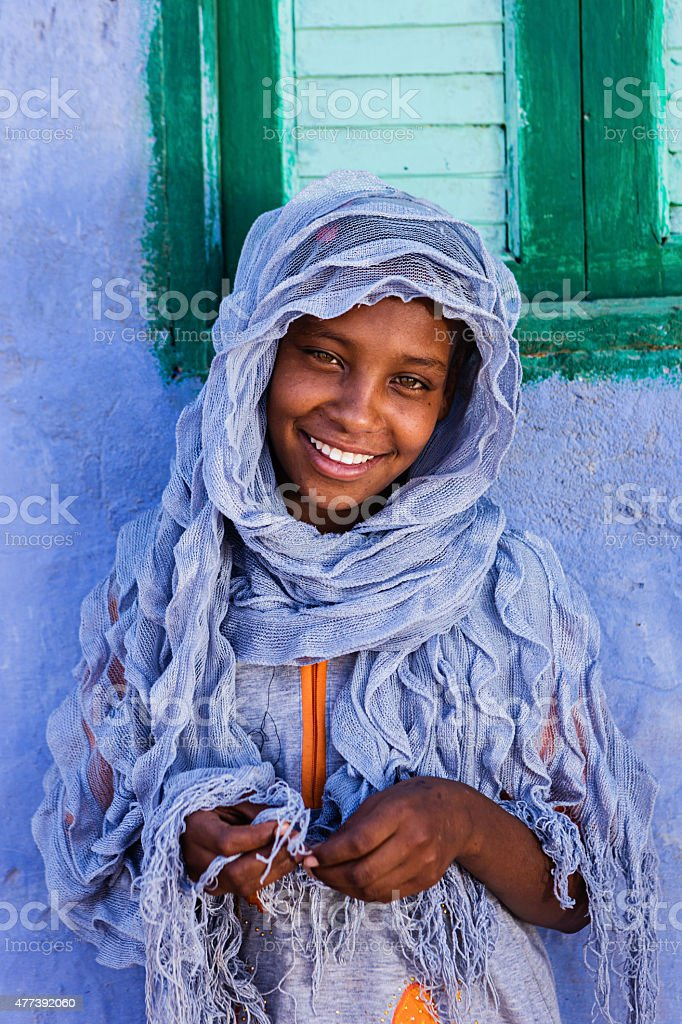 Young Muslim girl in Southern Egypt stock photo